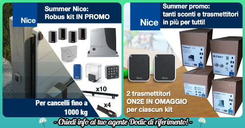 Promo NICE  kit automazioni Robus e On2e news Dodic