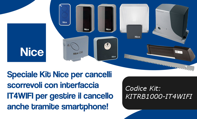 Nice kit RB1000-IT4WIFI per gestire il cancello tramite app!
